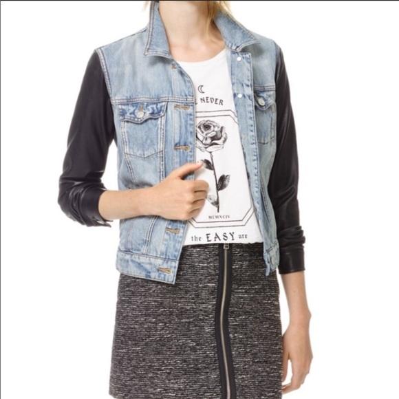 Aritzia Jackets & Blazers - Aritzia Talula Jean Jacket w/Leather Sleeves